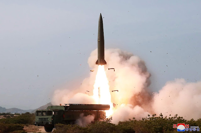 Image Attribute: May 4, 2019, Short Ballistic Missile Launch from Hodo Peninsula Training Area by North Korea. The missile that resembles the Russian-designed 9K720 Iskander-M / Source: Korean Central News Agency (KCNA)