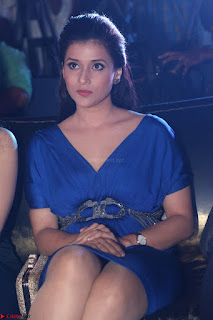 Mannara Chopra in Short Blue Dress at Rogue Movie Teaser Launch 1st March 2017 007.JPG
