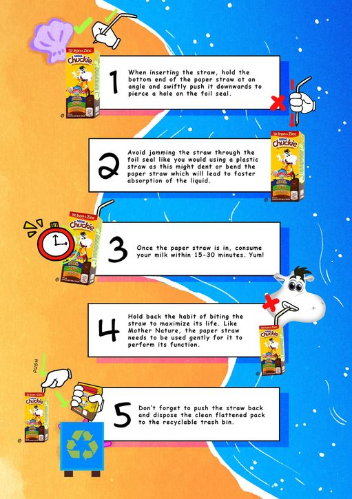 Nestle Chuckie paper straw usage guide