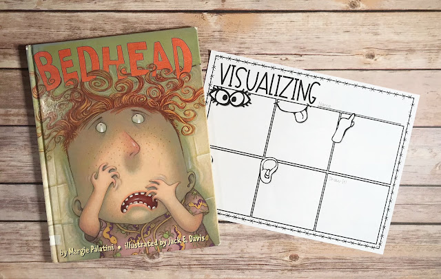 "Mentor Text with text ""Bedhead"" and Graphic Organizer with text ""Visualizing"""