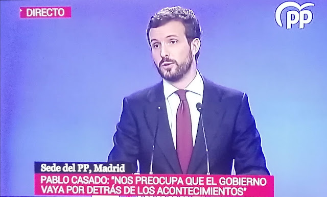 """Casado critica al Ejecutivo por la gestión del Coronavirus y propone un """"plan de choque"""""""