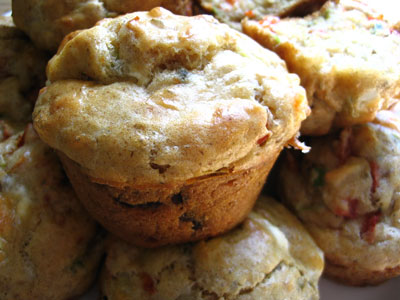 Roasted Red Pepper and Goat Cheese Muffins