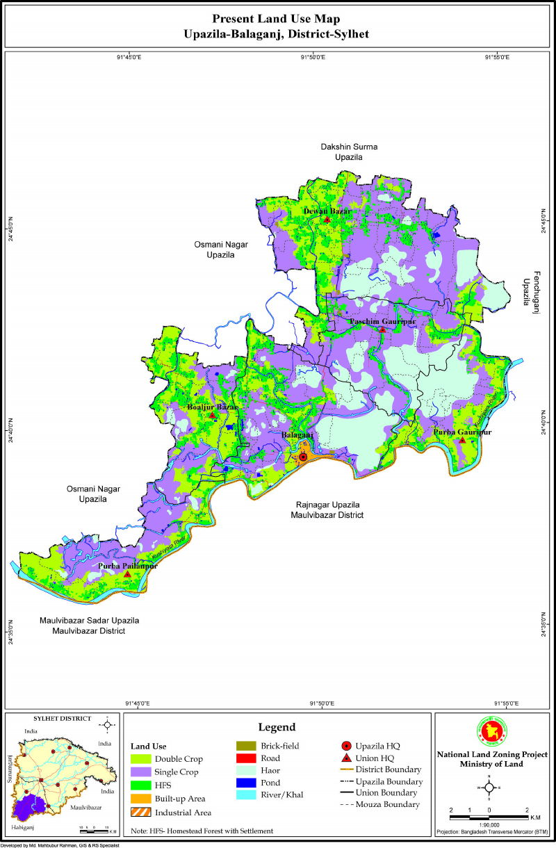 Balaganj Upazila Mouza Map Sylhet District Bangladesh