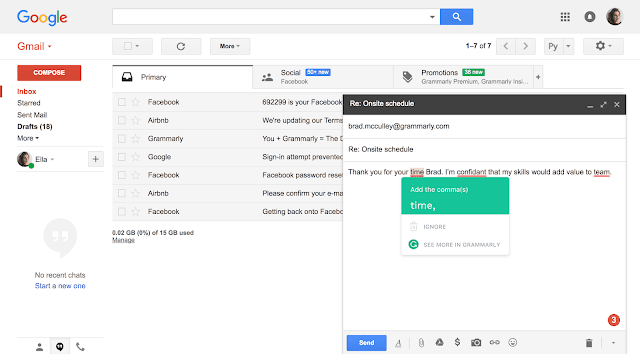 Screenshot of Grammarly on Gmail.