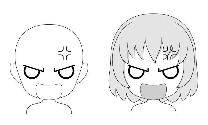Ekspresi wajah anime Marah chibi