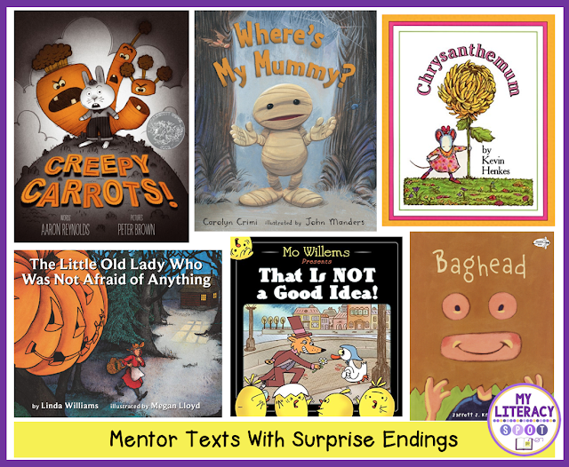 These are some of the #MentorText that have Surprise Endings.#usingmentortext #writingminilessons #writingcraft