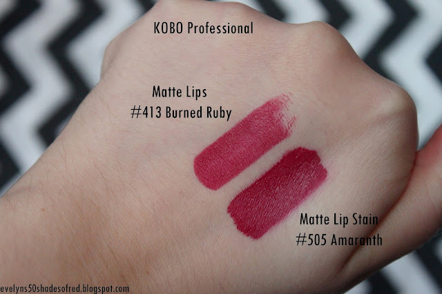 Kobo Professional Matte Lip Stain 505 Amaranth Matte Lips 413 Burned Ruby