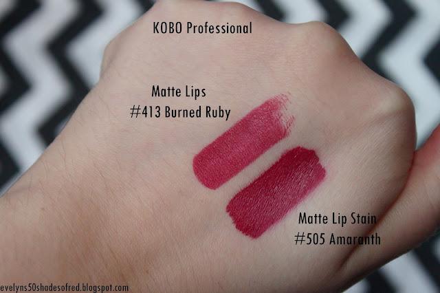 Kobo Professional Matte Lip Stain 505 Amaranth Matte Lips 413 Burned Ruby