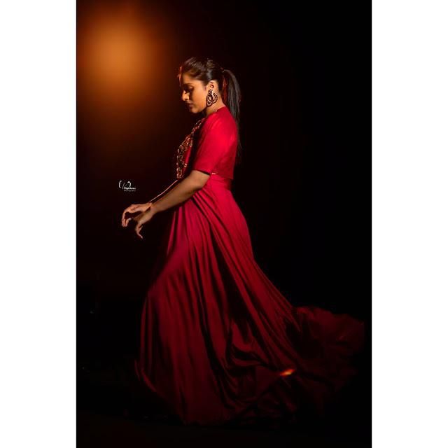 Telugu Anchor Rashmi Gautam Latest Pictures in Red Dress Actress Trend