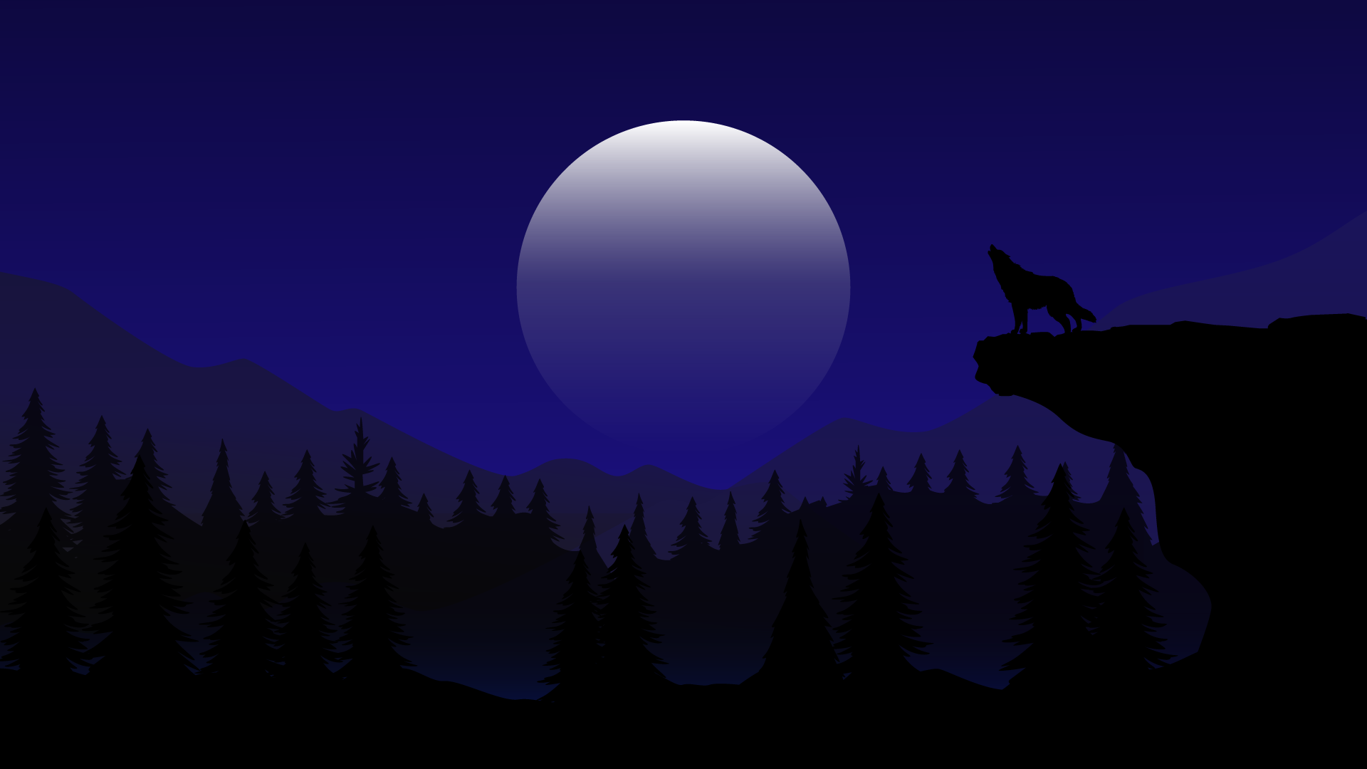Moon night and wolf howling wallpaper for laptop mac macbook or desktop windows 4k