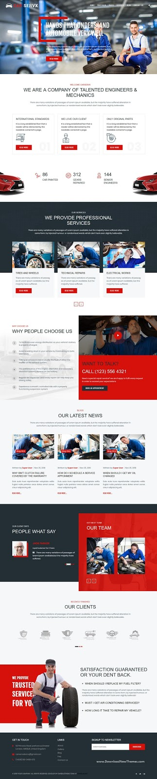 Car Service and Car Repair Website Template