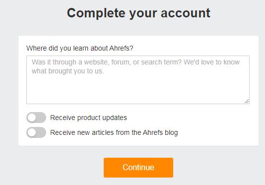 Đăng ký Ahrefs Webmaster Tools miễn phí cho blogspot