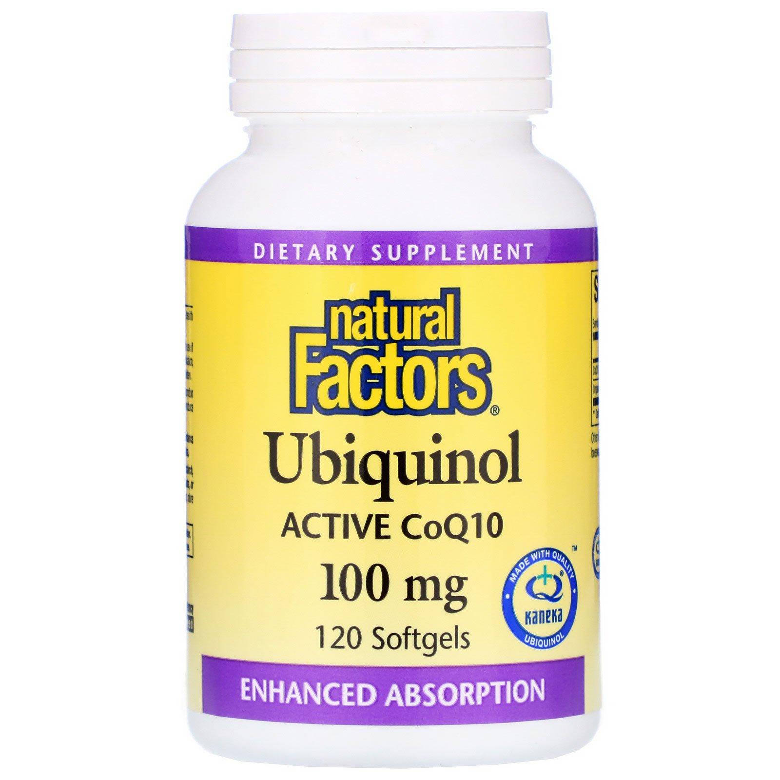 Natural Factors, Убихинол, QH-активный коэнзим Q10, 100 мг, 120 желатиновых капсул