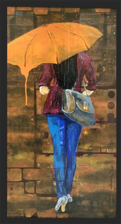 mulher com guarda chuva andando na chuva