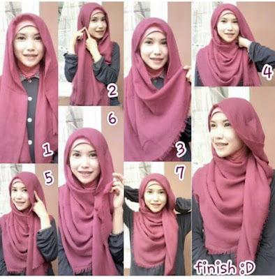 Tutorial Hijab Pashmina Rawis Segi Empat Kusut Gaya Simple Modern