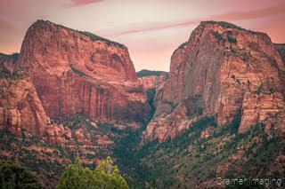 Cramer Imaging's fine art landscape photograph of Kolob Canyon peaks at sunset in Zion National Park Utah
