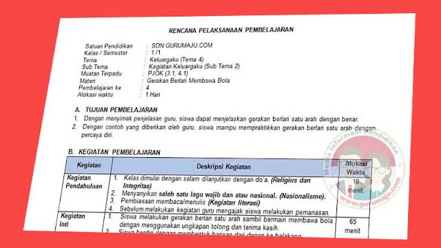 RPP 1 Lembar PJOK Kelas 1 Tema 4 K13 Revisi