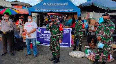 PD. Pasar Manado dan Koramil Bergandengan Tangan Sosialisasikan Protokol Kesehatan