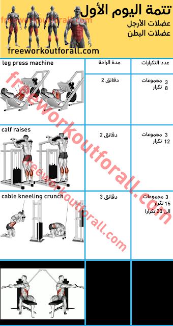 جدول تمارين كمال الاجسام 5