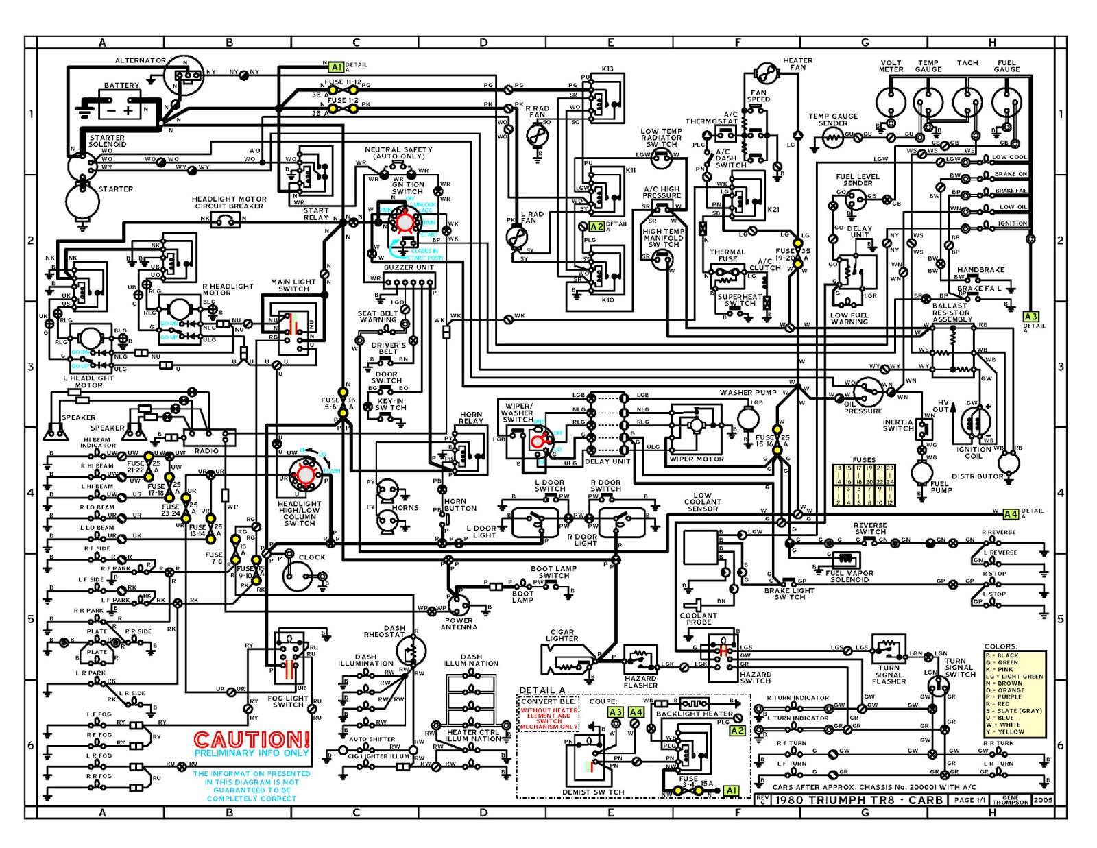Triumph Spitfire Wiring Diagram 1600 Free Download 1974 74 Tr6 1967 Tr4a