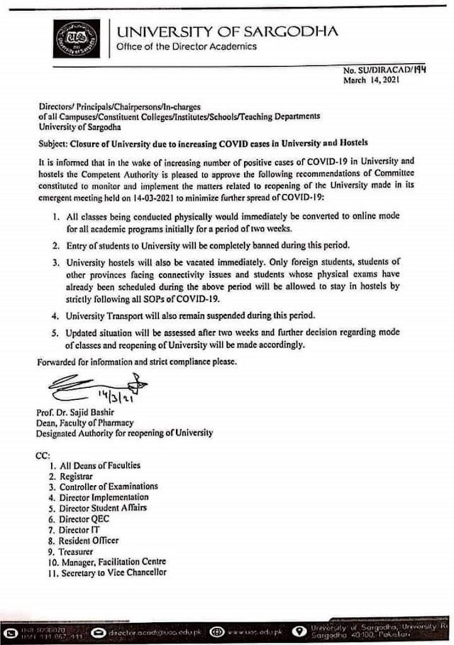 CLOSURE OF UNIVERSITY OF SARGODHA DUE TO INCREASED COVID CASES