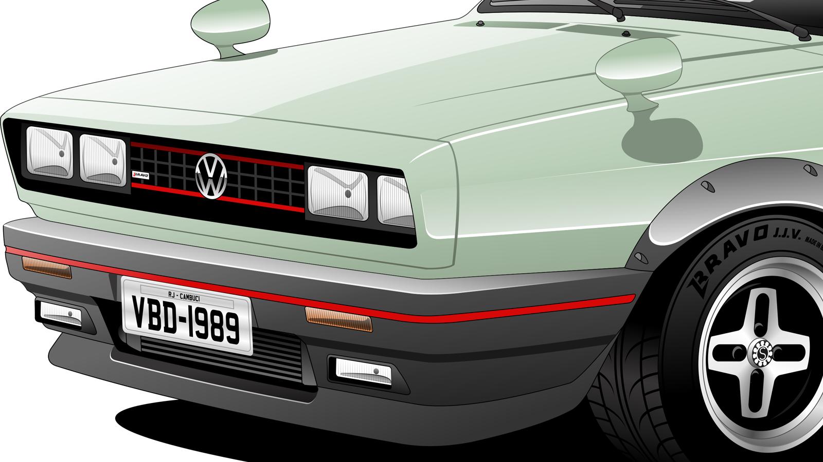 """Imagem mostrando o detalhe dianteiro do Volkswagen Parati """"Voya-J Wagon"""""""