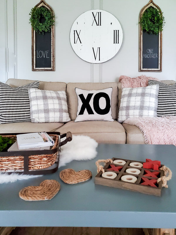 farmhouse sofa with chalkboards