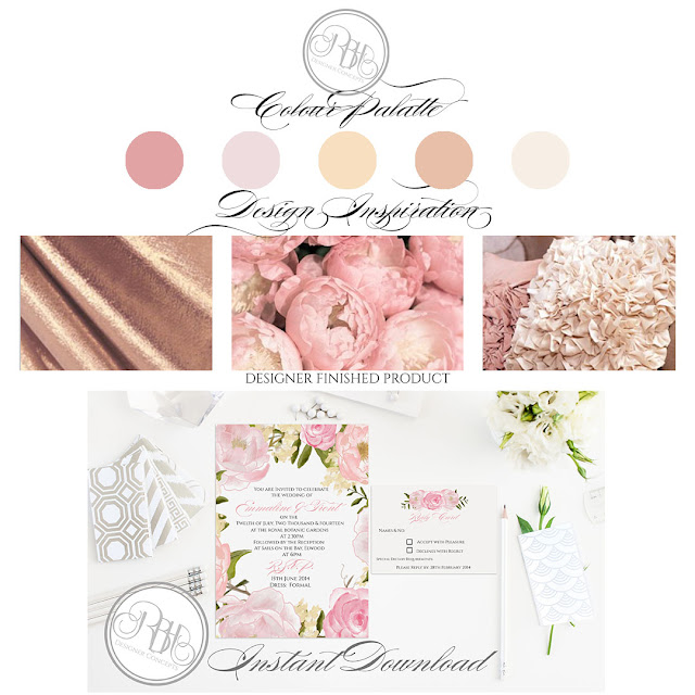 pink wedding invitations with roses, peonies, colour palette