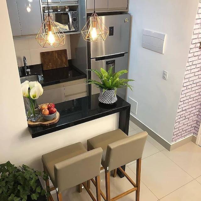 Dapur Minimalis Sederhana Dengan Mini Bar