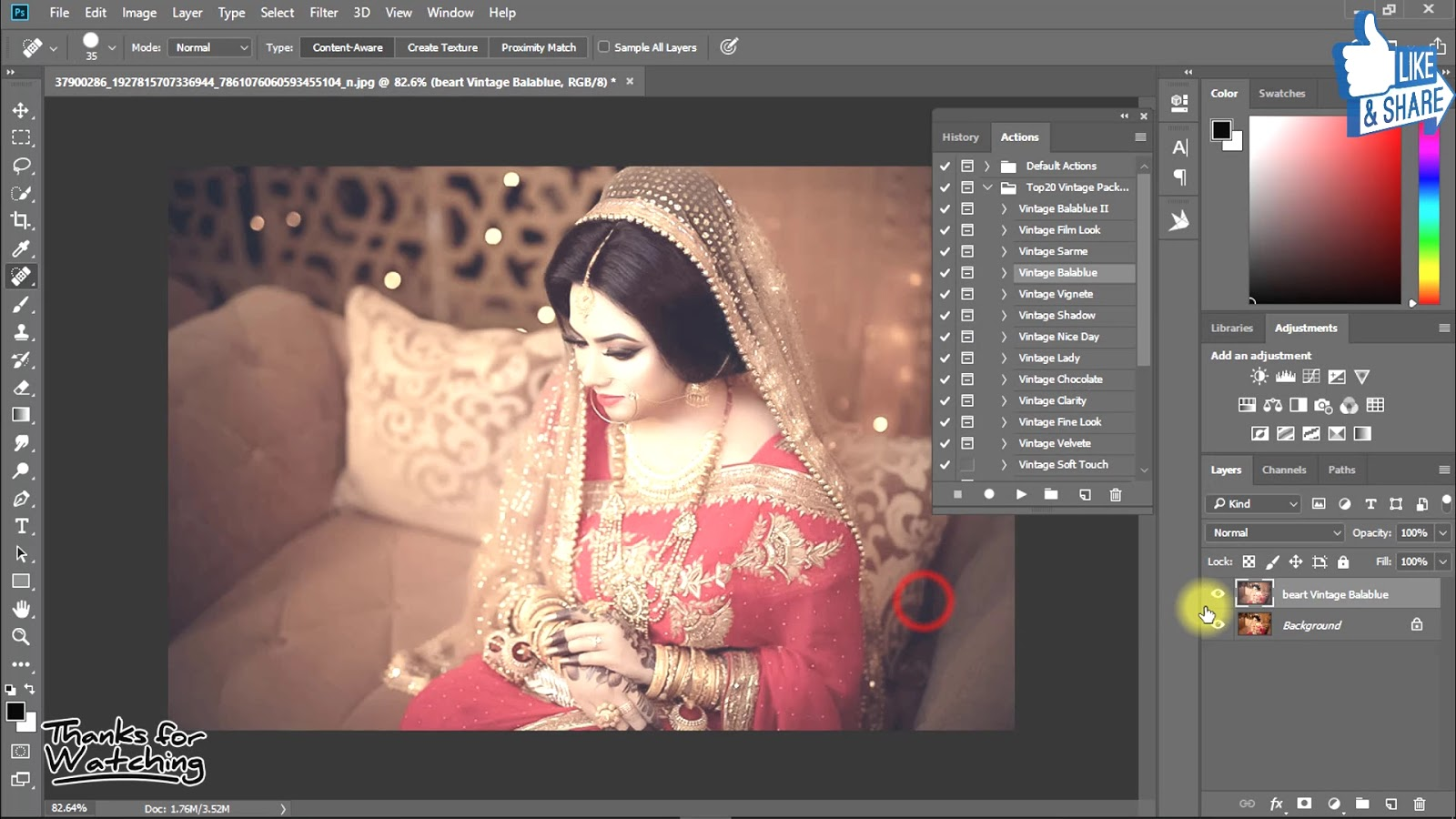 1-Click Automatic Vintage Wedding Effects Photoshop Actions Download 4