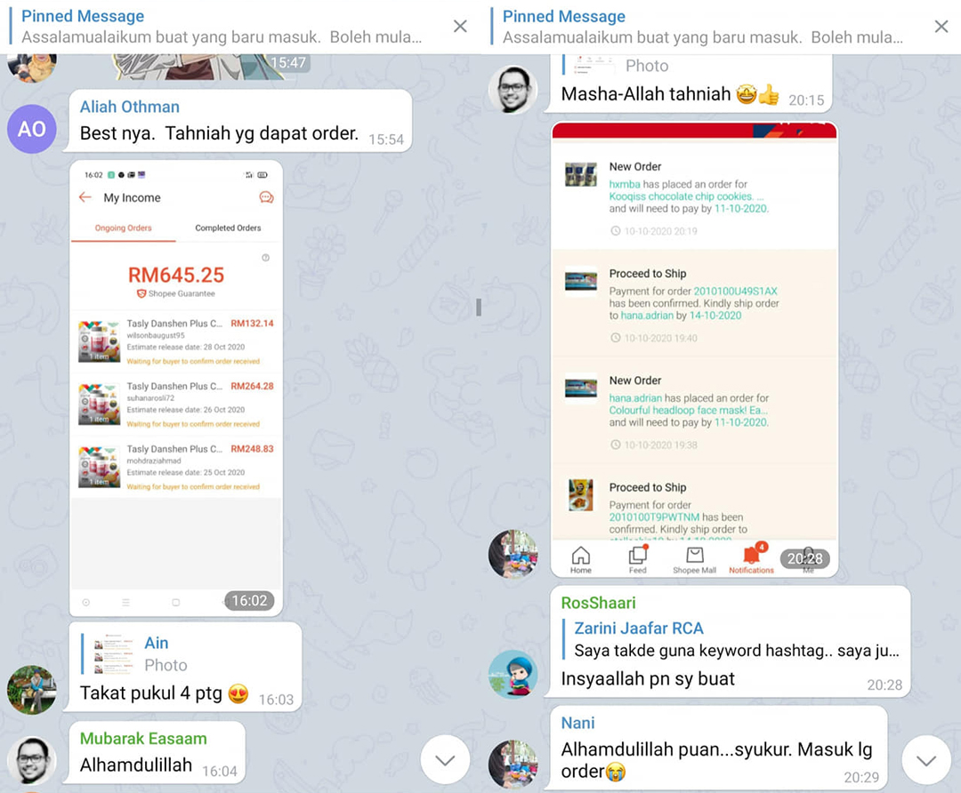 Telegram Belajar Shopee