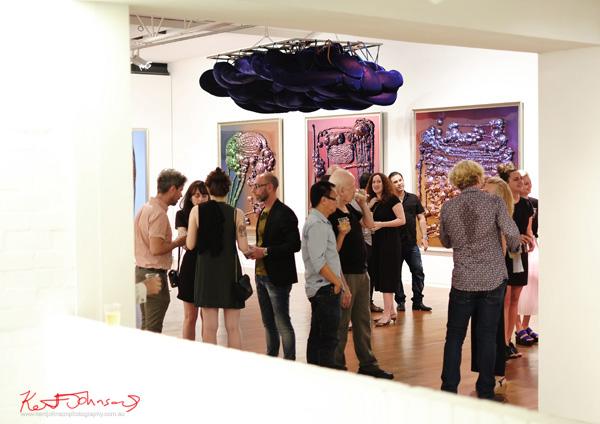 Opening night art patrons at Dale Frank SABCO PEROXIDE exhibition at Roslyn Oxley9. Photos by Kent Johnson.