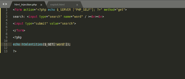 html injection php htmlenriries