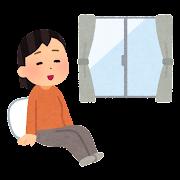 室内でリラックスする人のイラスト(女性)