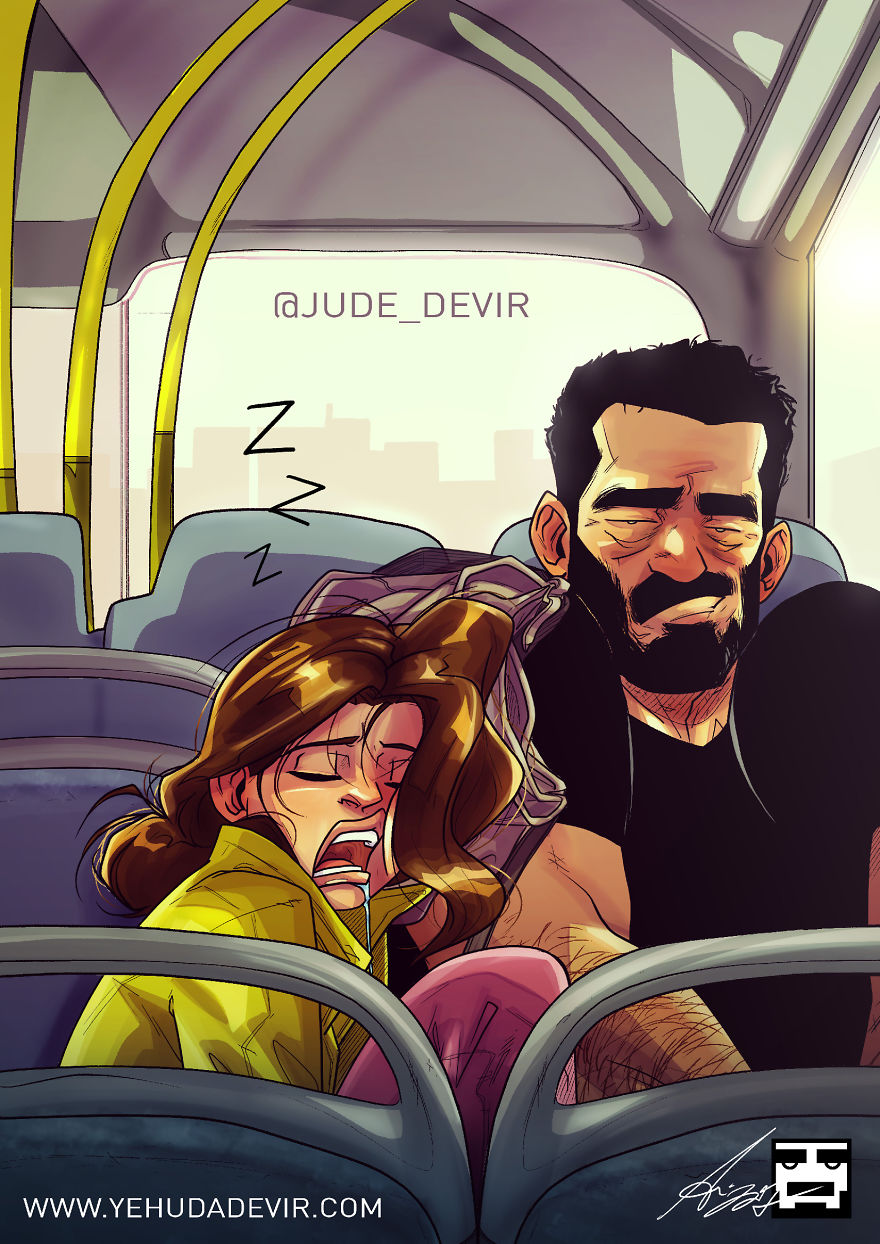 Man Draws Funny Comics Illustrating Everyday Life With His Partner - Travel Pillow
