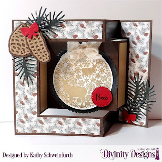 Stamp/Die Duos: Deer Ornament, Custom Dies: Pinecones & Pine Branches, Tri-Fold Card with Layers, Scalloped Circles, Pierced Circles, Paper Collection: Rustic Christmas