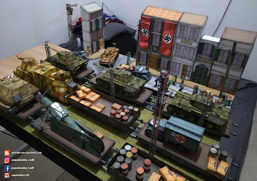 """ Beschäftigtes Militärpanzerdepot "" 1/35 scale papermodel"