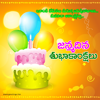"Beautiful ""janmadina subhakankshalu"" Telugu greetings on birthday"