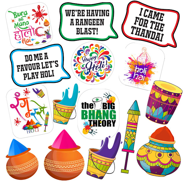 Party Propz HOLI Theme Party Photo Booth Props