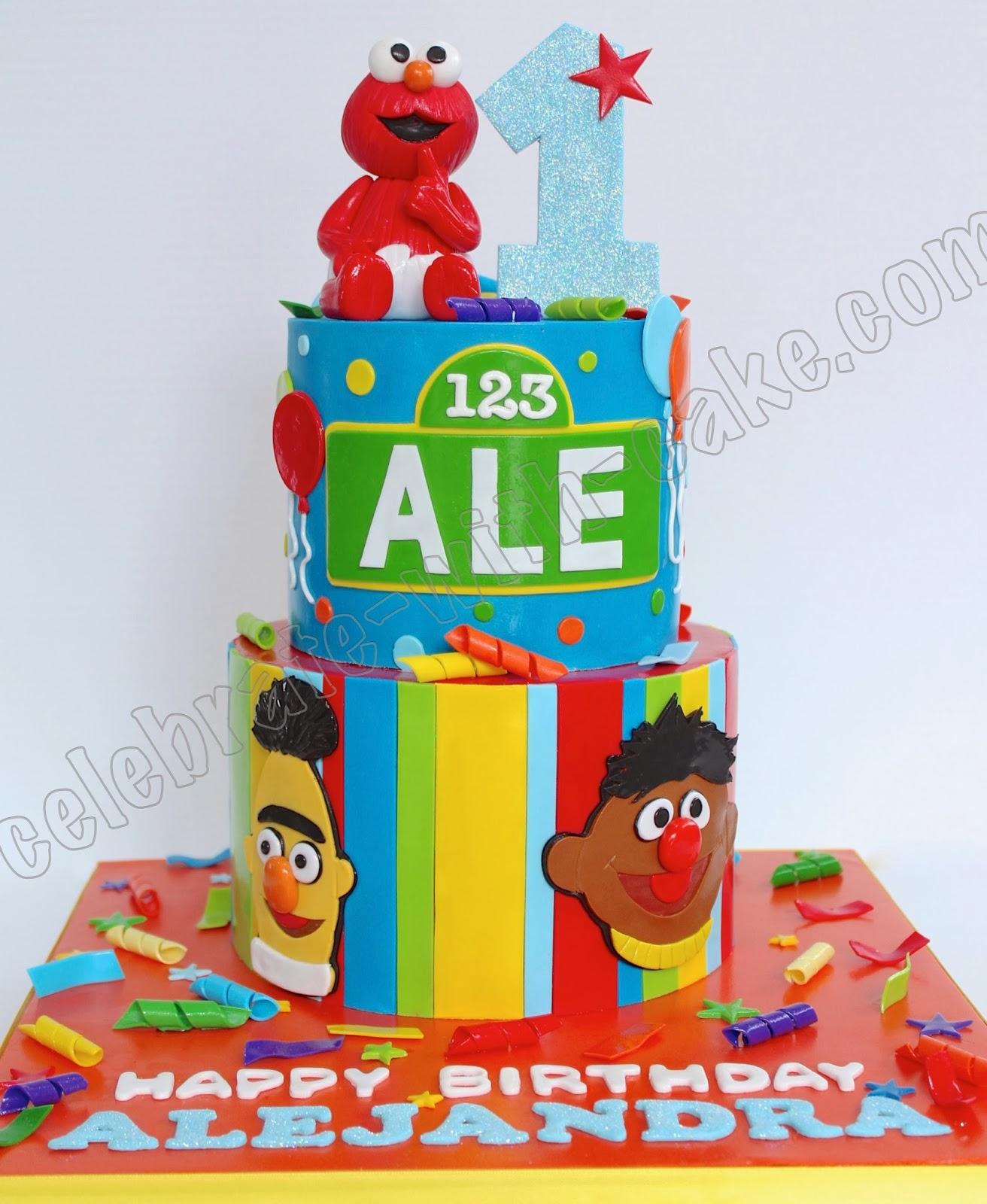 Sesame Street 2 Tier 1st Birthday Featuring Elmo Cake