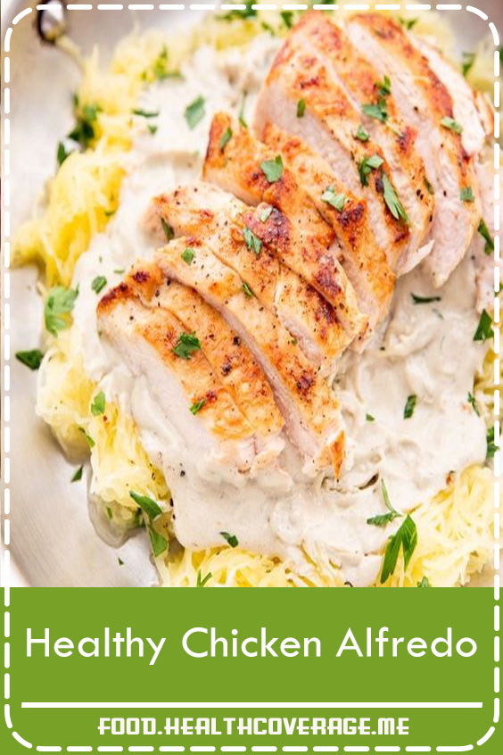 "A rich and creamy chicken alfredo made with a dairy-free cashew alfredo sauce and tender spaghetti squash ""noodles."" Shockingly good."