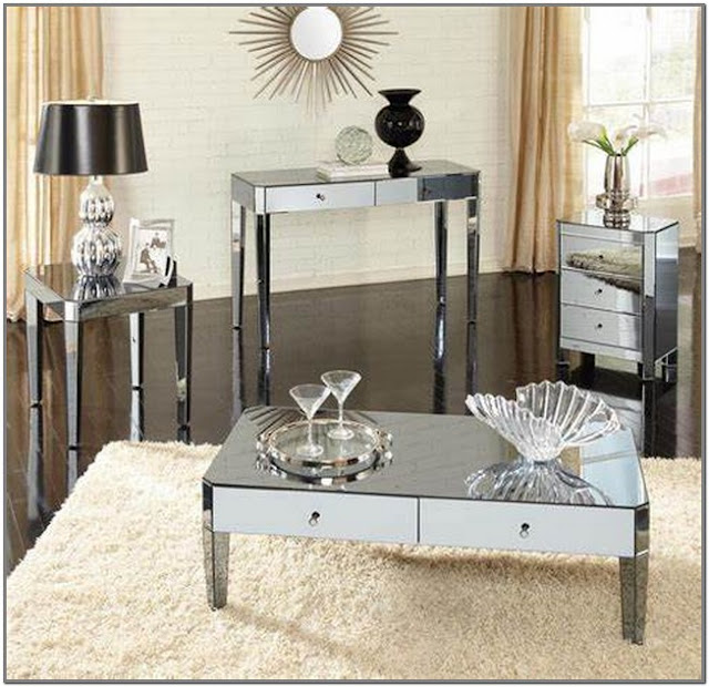 Mirrored Coffee and End Table Sets;Mirrored Coffee Table Set;