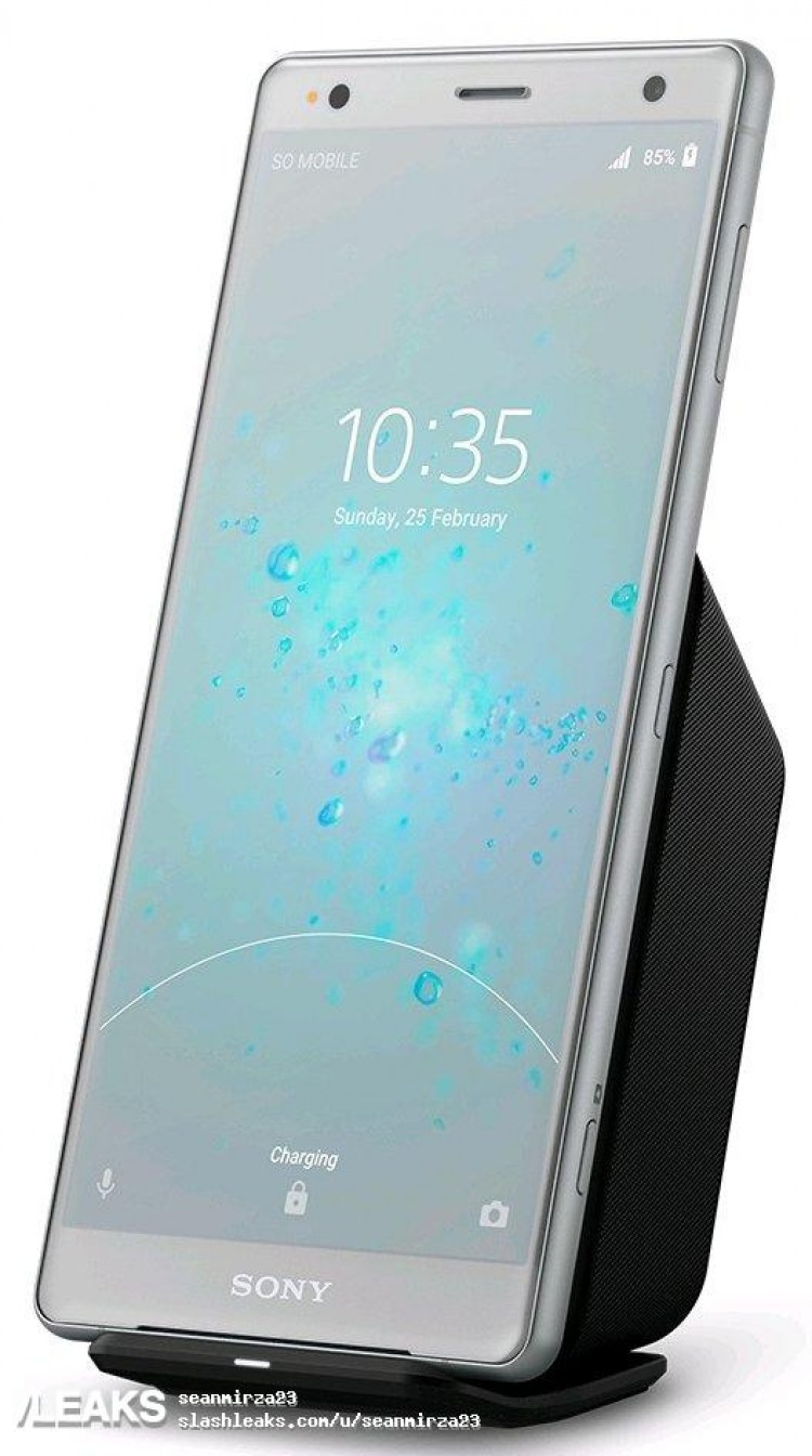 Sony Xperia XZ2 with its wireless charger