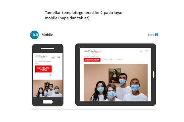 template generasi kedua di lihat dari layar mobile