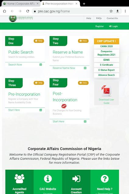 """alt = """"screenshot of CAC online business registration portal """""""