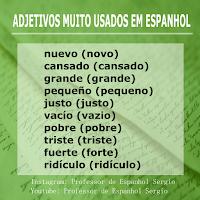adjetivos em espanhol, espanhol português, vocabulário espanhol