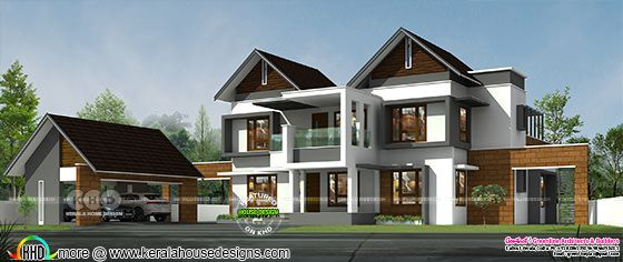 Modern sloping roof house rendering