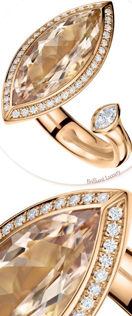 Andrew Geoghegan Satellite Marquis 5ct morganite diamond ring #brilliantluxury