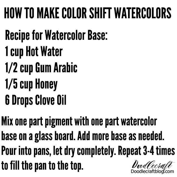 Begin by making the watercolor base. Fill a measuring cup with 2 cups of water...not hot, but warm. Gradually stir in 1 cup of Gum Arabic. Whisk it gently to mix in the clumps. Stir until the clumps are all mixed in. (Can strain through a cheesecloth if it's still lumpy, but I had no problem with clumps)  Then add 1/5 cup of honey and stir in until smooth. Add 6 drops of clove oil as a preservative and gives it a great scent!