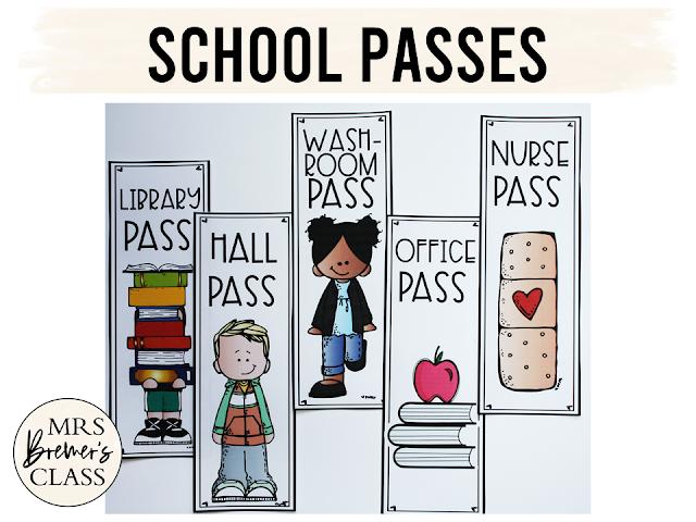 School Passes with hall pass library pass washroom pass nurse pass office pass